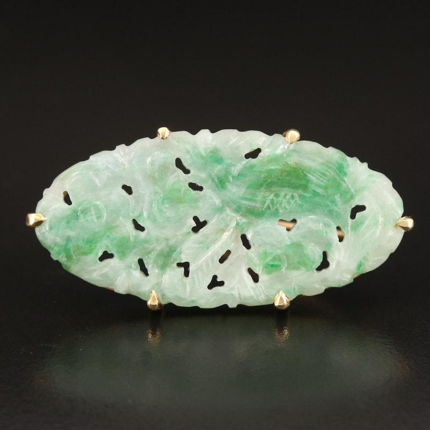 14K Carved Jadeite Brooch