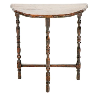 Jacobean Style Demilune Wood Side Table