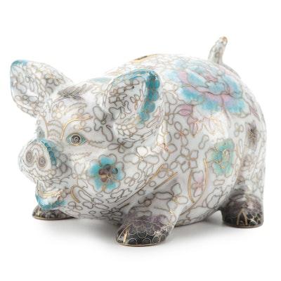 Cloisonne Enameled Floral Motif Piggy Bank