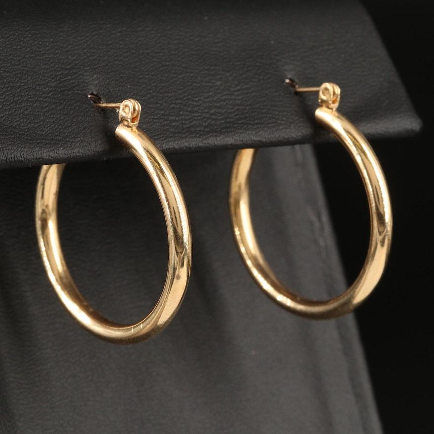 14K Cylindrical Hoop Earrings
