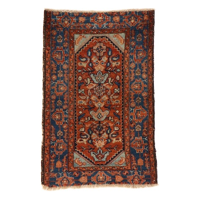 2'4 x 3'7 Hand-Knotted Persian Malayer Rug, 1920s