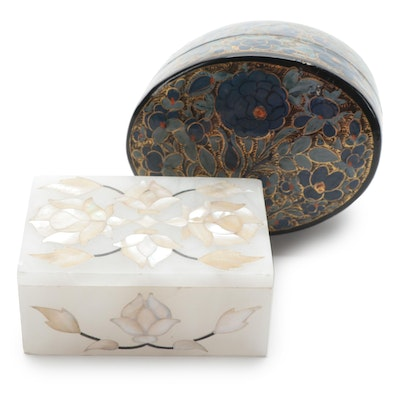 Marble Quartz Pietra Dura Mother of Pearl Inlay and Other Box, Late 20th Century