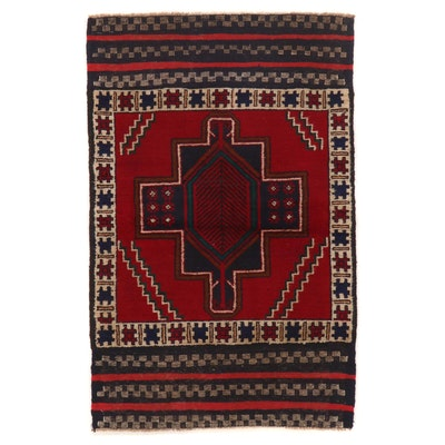 2'10 x 4'4 Hand-Knotted Afghan Baluch Wool Accent Rug