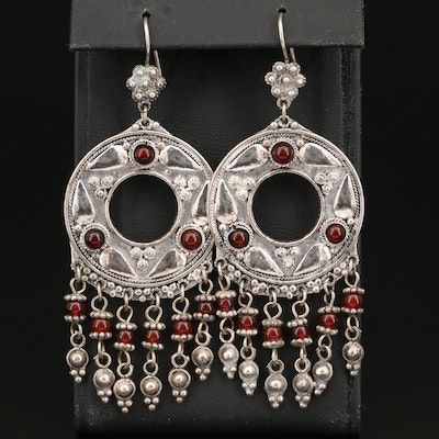 Sterling Carnelian Cannetille Chandelier Earrings