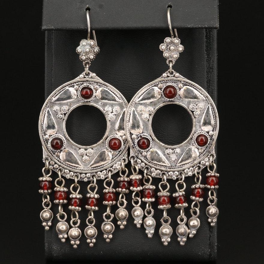 Sterling Carnelian Cannetille Chandelier Earrings