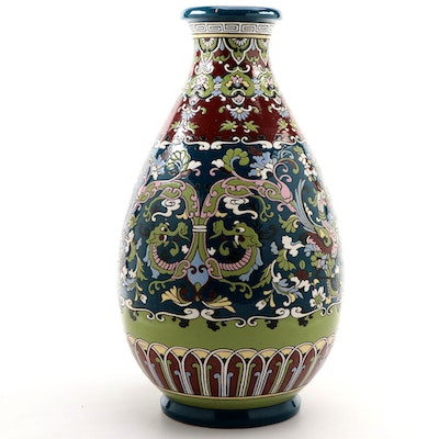Chinese Ceramic and Enamel Vase with Dragon Motif