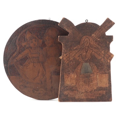 Flemish Art Company and Other Dutch Themed Pyrography Wall Plaques