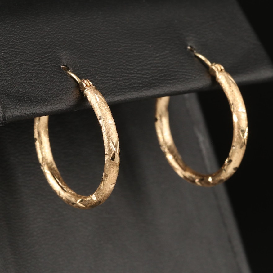 14K Hoop Earrings with Diamond Cut Accents