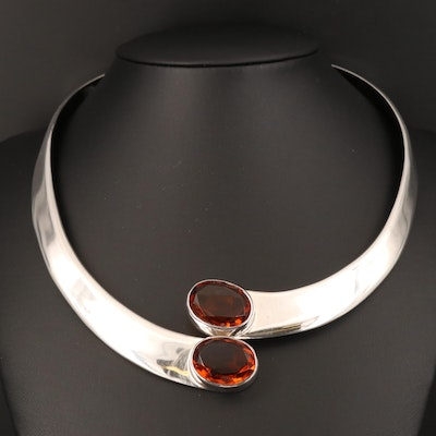 Mexican Sterling Glass Hinged Collar