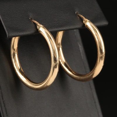 10K Cylindrical Hoop Earrings