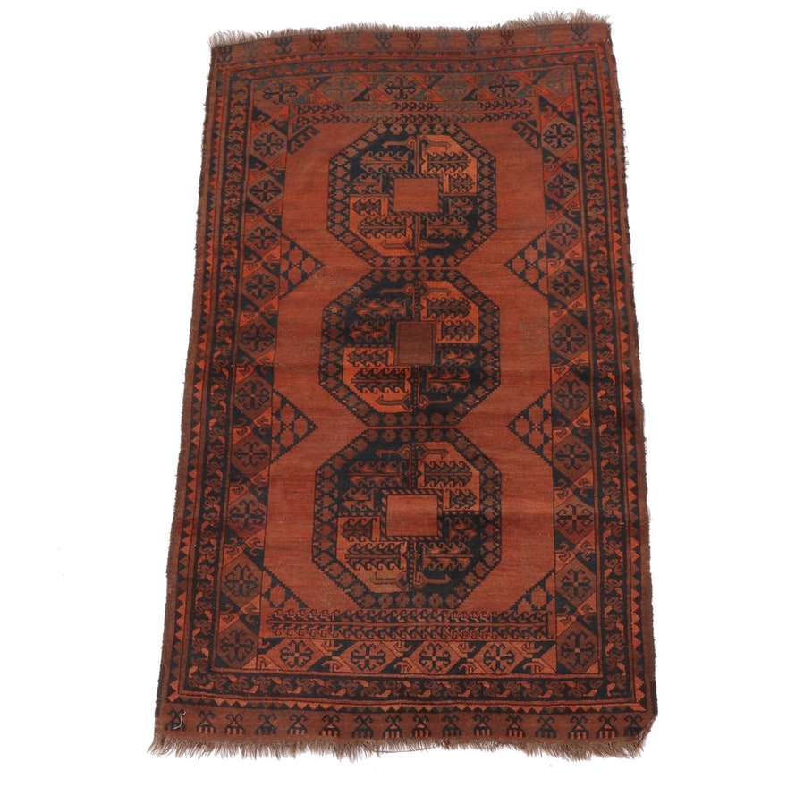 3'11 x 7'4 Hand-Knotted Afghan Wool Area Rug