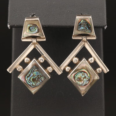 Mexican 950 Silver Abalone Earrings