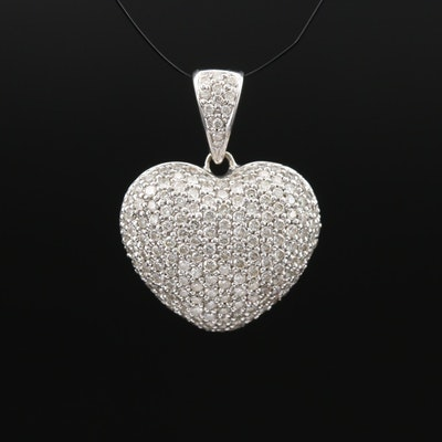 14K 1.00 CTW Pavé Diamond Heart Pendant