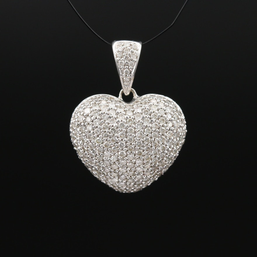 14K 1.00 CTW Pavé Diamond Heart Pendant