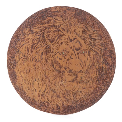 Pyrography Wood Wall Hanging of Lion with Rhinestone Eyes