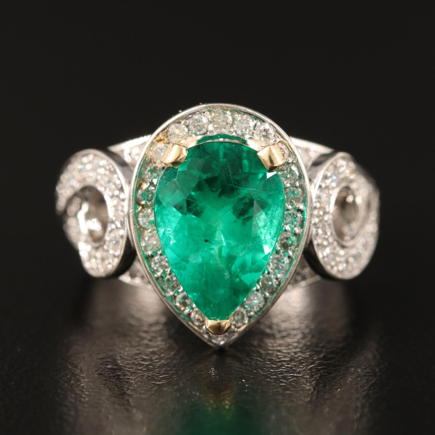 14K 1.90 CT Emerald and Teardrop Diamond Ring with GIA Report