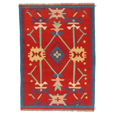 4'0 x 5'10 Handwoven Afghan Kilim Wool Area Rug