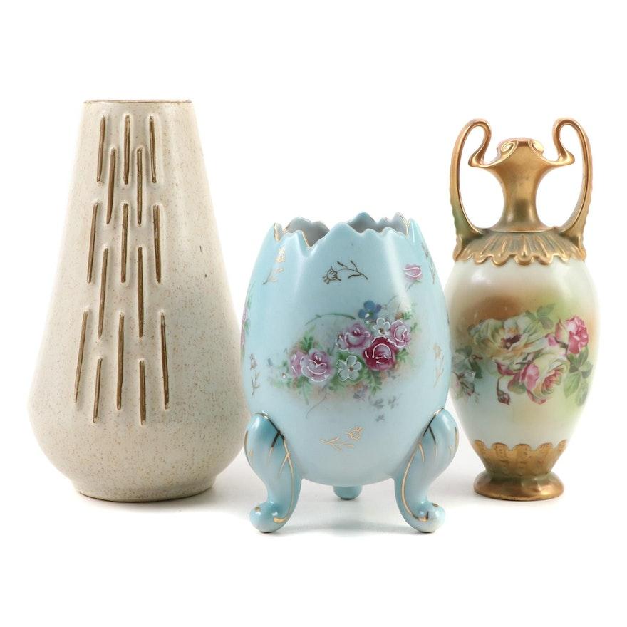 McCoy Pottery Vase, Cracked Egg Vase, and Mantle Vase, Early/Mid 20th C