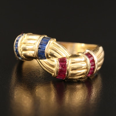 14K Sapphire and Ruby Ring with Twist Design