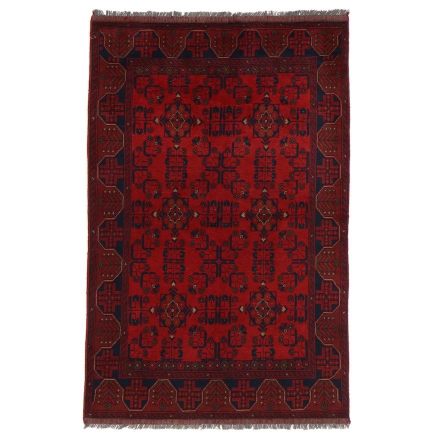 4'4 x 6'11 Hand-Knotted Afghan Kunduz Wool Area Rug