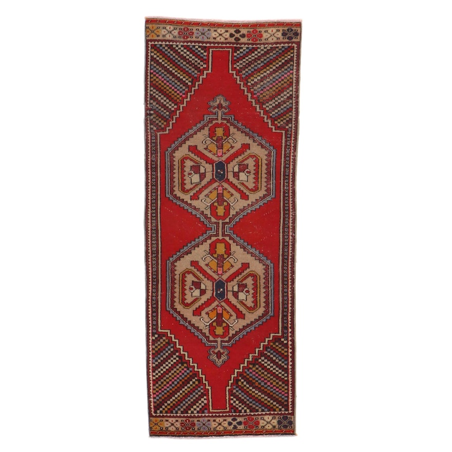 3'3 x 8'8 Hand-Knotted Turkish Village Long Rug, 1930s