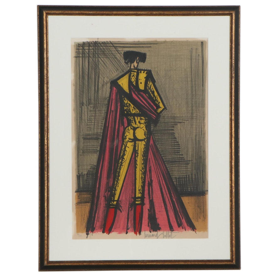 "Bernard Buffet Color Lithograph ""Torero,"" 1966"