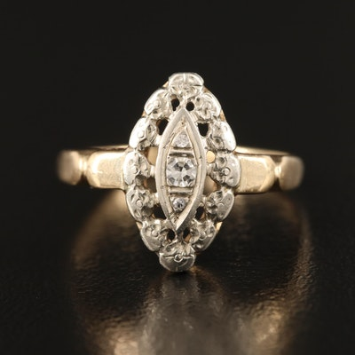 14K Diamond Navette Ring