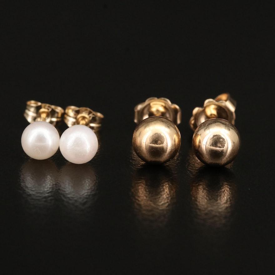 14K Pearl and Ball Stud Earrings