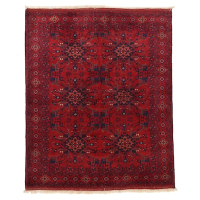 4'11 x 6'2 Hand-Knotted Afghan Turkmen Wool Area Rug