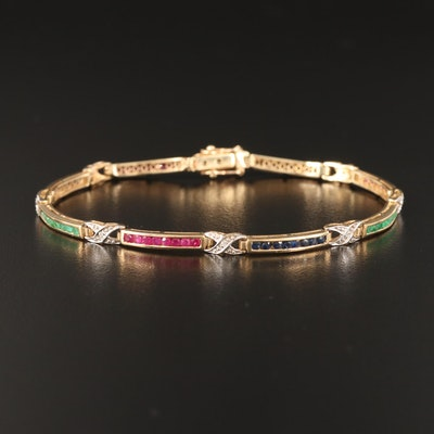 "10K Gemstone and Diamond Curved Bar and ""X"" Link Bracelet"