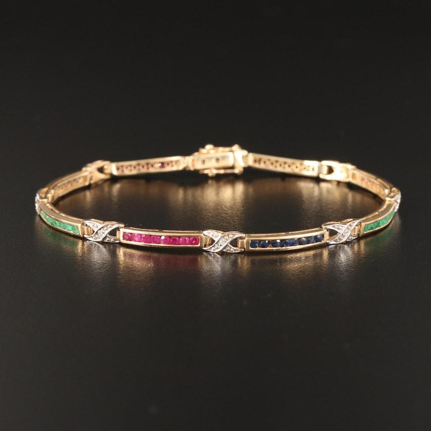 "10K Gemstone and Diamond Curved Bar and ""X"" Link Bracelet"