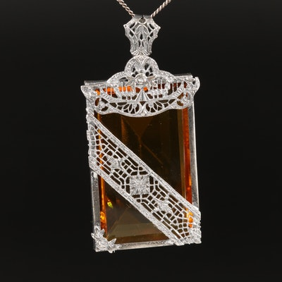 Art Deco Orange Glass Filigree Pendant Necklace