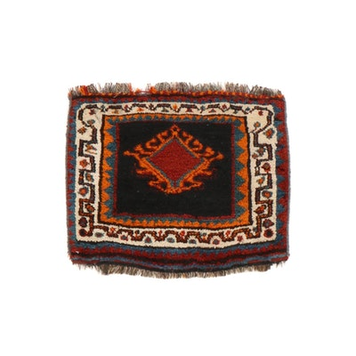 1'8 x 1'10 Hand-Knotted Persian Qashqai Shiraz Rug, 1930s