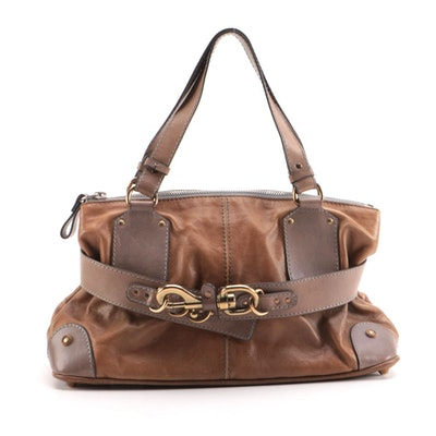 Chloé Satchel Bag in Brown Leather with Blue Contrast Stitching