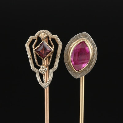 Victorian Glass and Ruby Stick Pins with 18K and 14K Settings Featuring Belais