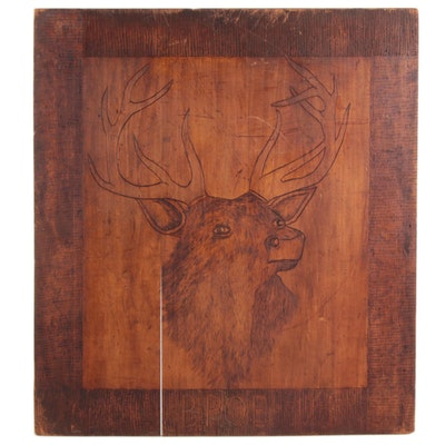 Handmade BPOE Elks Pyrography Wood Panel