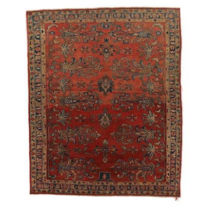 5'3 x 6'8 Hand-Knotted Persian Farahan Sarouk Wool Area Rug