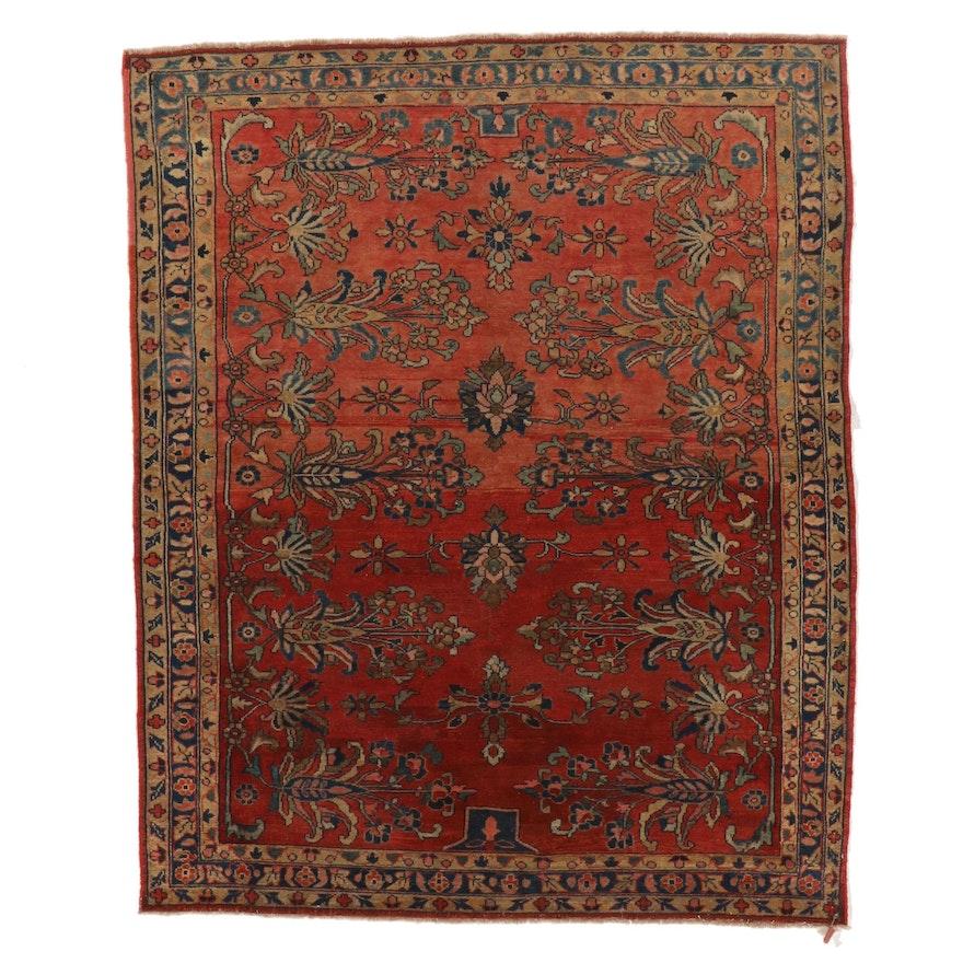 5'3 x 6'8 Hand-Knotted Persian Farahan Sarouk Wool Area Rug