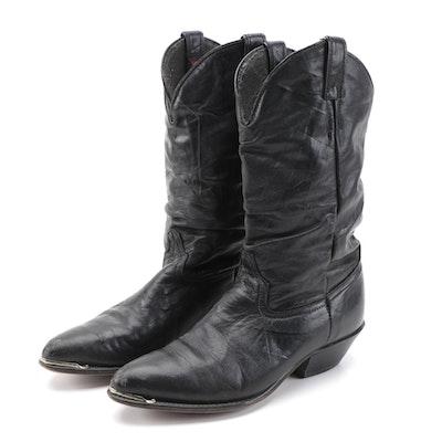 Laredo Black Leather Mid-Calf Toe Strap Boots with Merrell Shoe Box