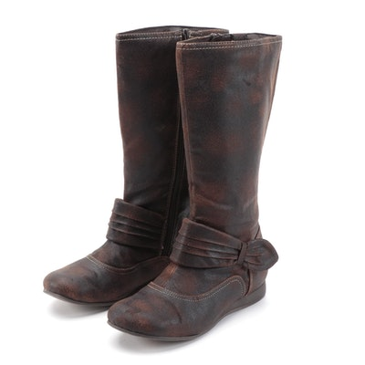 Mudd Tyke Boots in Dark Brown Distressed Faux Leather with Box