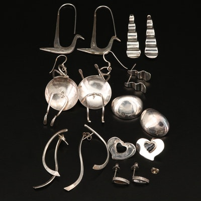 Sterling Earring Selection Including Including Black Onyx Hearts and Figures
