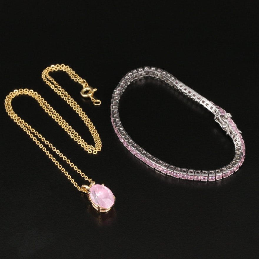 14K Pendant and Sterling Line Bracelet Set with Cubic Zirconia