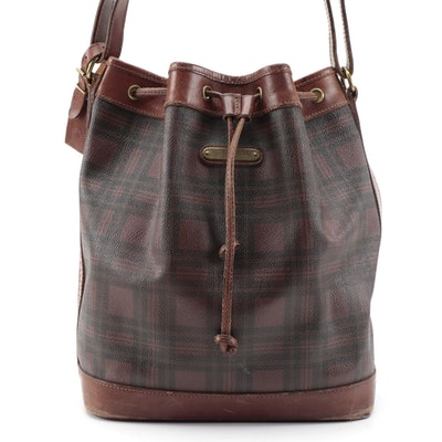 Polo Ralph Lauren Stewart Tartan Collection Bucket Bag in Coated Canvas