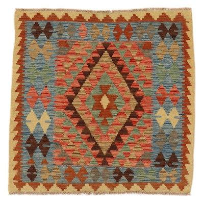 3'2 x 3'3 Handwoven Afghan Kilim Accent Rug
