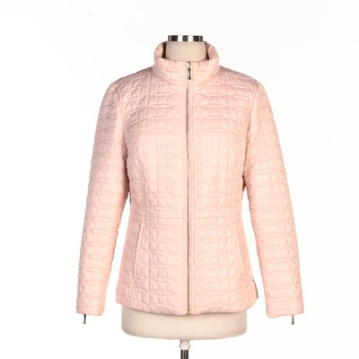 Kate Spade Quilted Down Zipper-Front Jacket in Orchid Pink