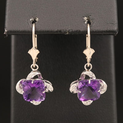 14K Amethyst and Diamond Quatrefoil Drop Earrings