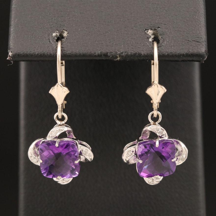 14K Amethyst and Diamond Quatrefoil Drop Earrings