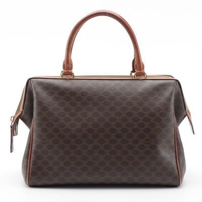 Celine Doctor's Bag in Macadam Canvas with Leather Trim