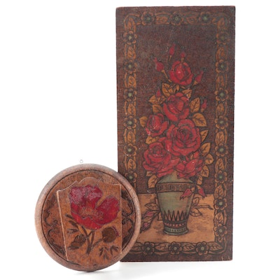Flemish Art Co. Pyrographic Rose Bouquet Wall Plaque with Whisk Broom Holder