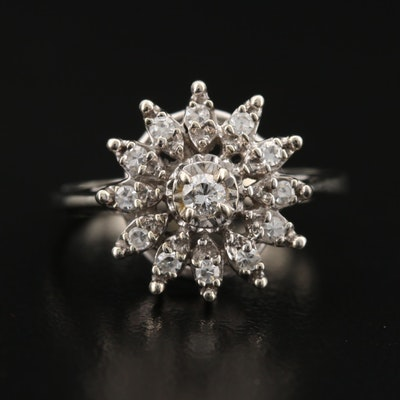 Vintage 14K Diamond Sunburst Ring